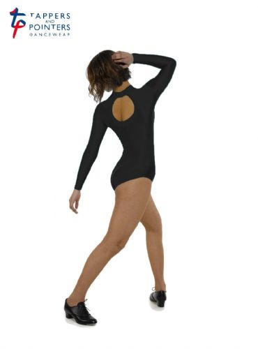 T&P Turtle Neck Long Sleeved Dance Leotard with Keyhole Back Nylon Lycra Black